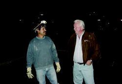 Tomas Rubio, lead foreman for Renevald, and Bill Coleman, president of Coleman Concrete, discuss progress during the middle of the pour.