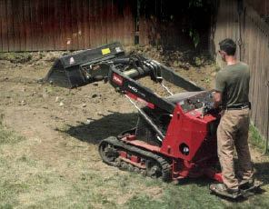 A mini skid-steer loader saves time and reduces back pain when it's used for the minor earthwork required for a freestanding pergola.