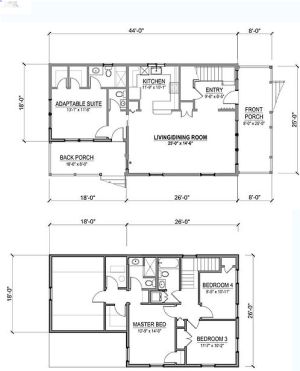 New Economy Home first and second floor plans