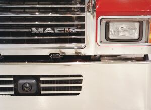 The Bendix Wingman antenna fits neatly in this Mack's bumper.