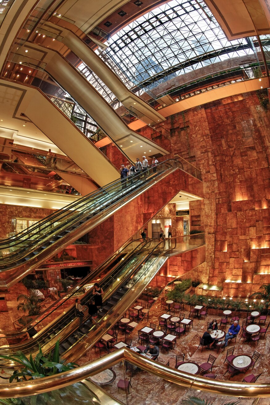 The atrium of Trump Tower