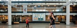 The University of Minnesota Virtual Reality Design Lab platform gives users an immersive and stereoscopic experience in the Rapson Hall Courtyard.