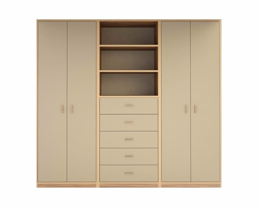 The Urbano model features closets, dressers, and open shelving.