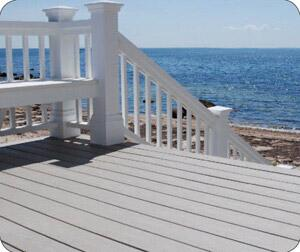 Though the wood component in composite decking will allow for some water absorption, many plastic-based deck boards and railings will weather well, even in coastal climates.