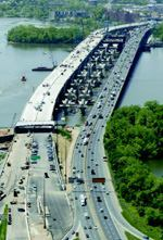 The reconstructed Woodrow Wilson Bridge greatly reduces traffic congestion for commuters crossing the Potomac River. The project took six years and cost $2.4 billion.