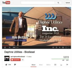 The cooking oil-into-biodiesel process at Daphne, Ala., on YouTube