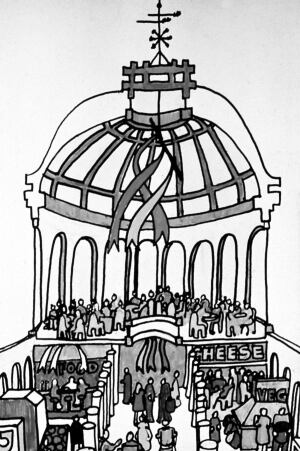 A sketch depicting Benjamin Thompson's scheme for Faneuil Hall's redevelopment, drawn during the design phase.