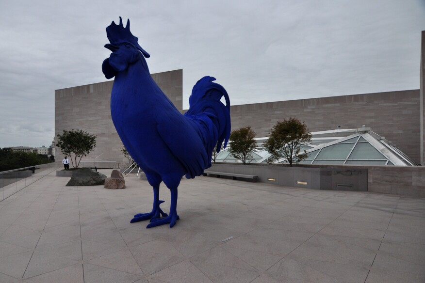 Hahn/Cock, 2013, by Katharina Fritsch, on the roof of the National Gallery of Art, East Building.