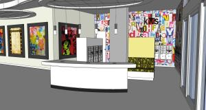 H Street's lobby will feature a visually stunning common area characterized by moveable digital art, connectivity kiosks, and electric signsflashing community information.