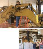 Above: Gene Ledford, a technician II in Polk County's fleet management division, does routine maintenance work on a Caterpillar backhoe. Right: Steve Bennett (left), chief mechanic, and Todd Atchison, a technician III, work in Polk County's primary fleet maintenance facility on an aerial bucket truck. Photos: Bob Stanton