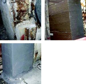Above, left: Deteriorated concrete and steel were removed prior to re-forming the column. Above, right: Cementitious grout was used to reform the column. Below, left: After wrapping the column with carbon fiber sheets, workers applied a finish coat of epoxy-novolak.
