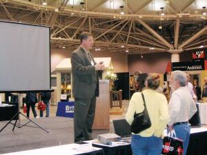 General manager Bjorn Freudenthal speaks to attendees after College City Design-Buildís kitchen design workshop at the Minneapolis Home & Garden Show.