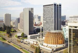 The cathedral's site on the shore of Lake Merritt is 16 feet lower than the surrounding city streets.