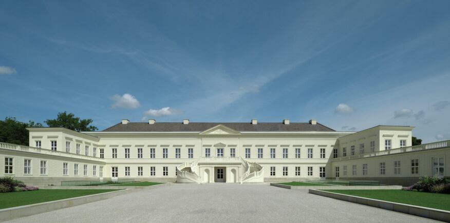 The courtyard of the reconstructed schloss.