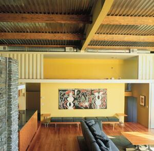 discard yard  Recycled and found materials often play important roles in Siegal's work. When designing this urban Los Angeles residence, she started with four shipping containers already on site. The large containers became perimeter spaces that surround a