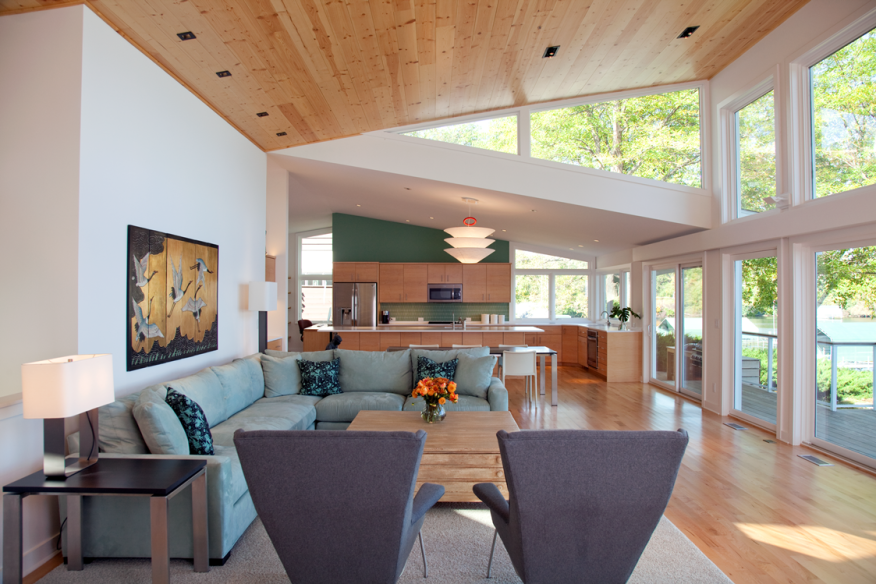 This remodel by Trehus shows one of the most popular trends: an open floor plan on the main level