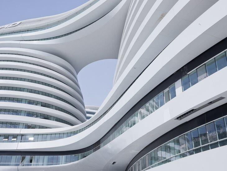 The Galaxy SOHO, an office, retail, and entertainment complex designed by Zaha Hadid, in Beijing.