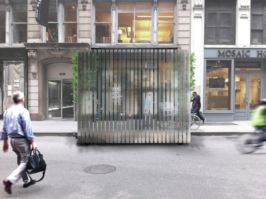 "The redesign of Van Alen's storefront space, by Collective-LOK, includes a ""street seat""—a mobile bench featuring mirrored panels that will be sited in a parking spot in front of the entrance."