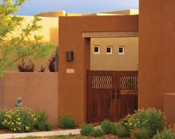 At Rancho Viejo, homes in the Courtyard series feature architectural elements that have become synonymous with Santa Fe style: flat rooflines, courtyards, stylized entries, and stucco-finished curves.