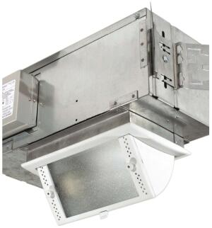Light-Squares tilt-down wall wash fixture  Pathwaywww.pathwaylighting.com  High-performance reflector distributes light horizontally and vertically through microprismatic tempered glass -Tilts from flush with ceiling to 60 degrees -Lockable tilt prevents movement during lamp replacement -T6 ceramic metal halide lamp in 70 or 39 watts -Thermally protected ballast Custom finishes available