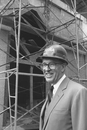 Jean Paul Carlhian at the site of the Arthur M. Sackler Gallery in 1986.