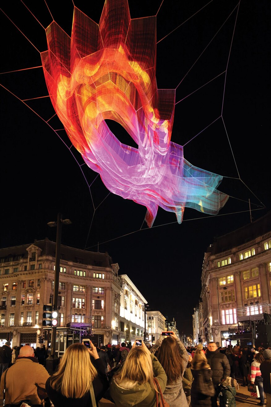 "Echelman's 2015 London installation titled ""1.8."" The piece was suspended over Oxford Circus."