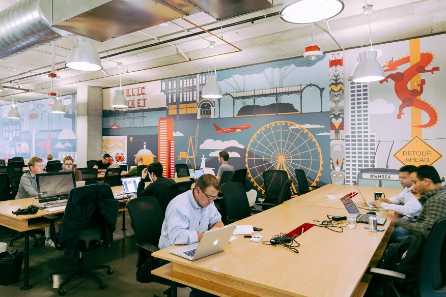 WeWork's hot desk area in Seattle's South Lake Union neighborhood. (This is not the beta floor the article discusses, but it looks relatively similar.)