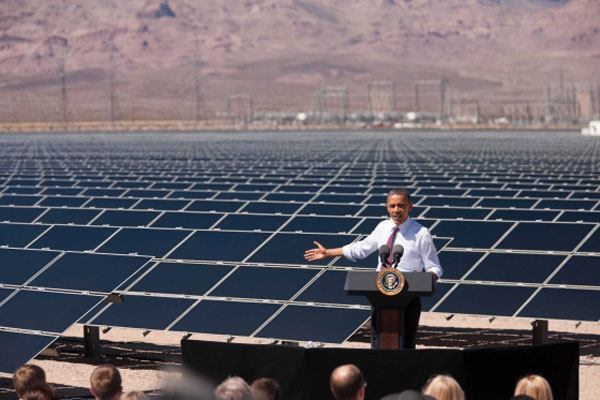President Barack Obama delivers remarks at the Copper Mountain Solar 1 Faiclity in Boulder City, Nev., on March 21, 2012. Photo courtesy The White House.