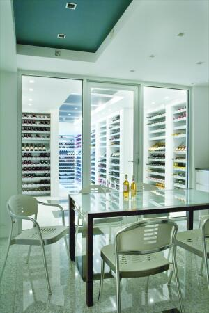 The team expanded the basement to make room for a wine storage and tasting area.