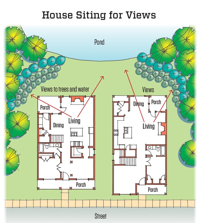 These two homes are sited and arranged so that views from the living spaces look out to natural settings. Windows that look from one house to the other are kept to a minimum.