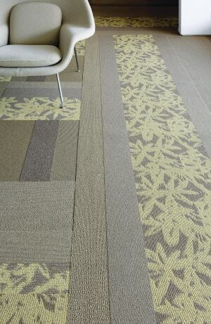 """An addition to Tandus' Manufactured Landscapes collection, the Landscape Patterns line offers a choice of three designs and two formats, 24"""" modular tiles or low-VOC Powerbond VCTT (variable cushion tufted textile) carpets. The Squiggle Ray, Blade Curve, and Hybrid patterns are made of 100% recyclable, close-loop Antron face fiber, which includes 95% solution-dyed Lumena. Custom logos can be incorporated into any of the 12 Manufactured Landscapes colorways.  tandus.com"""