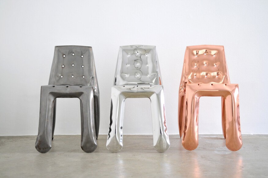 Designer Oskar Zieta's Chippensteel 0.5 chair, made with his studio's Free inner Pressure Deformation technology.