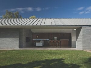 The standing-seam roof is made of interlocking zinc panels that keep the house cool in the heat of a Phoenix summer.