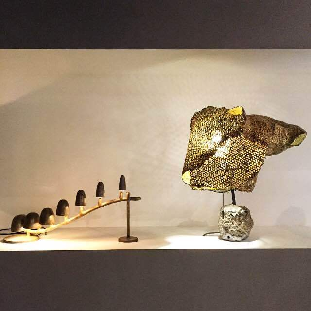 A display in the Carpenters Workshop gallery, with a lamp by Frederik Molenschot at left.