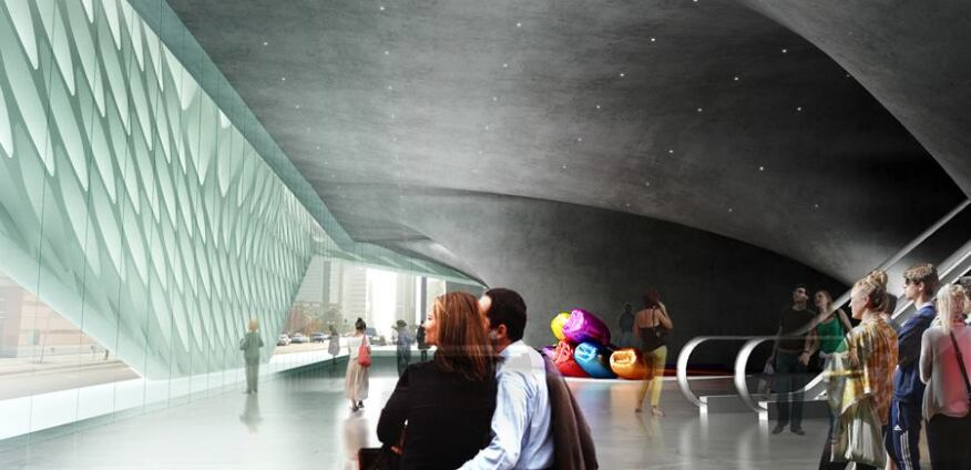 Lobby view from the north entrance with interior view of the glazing and veil.