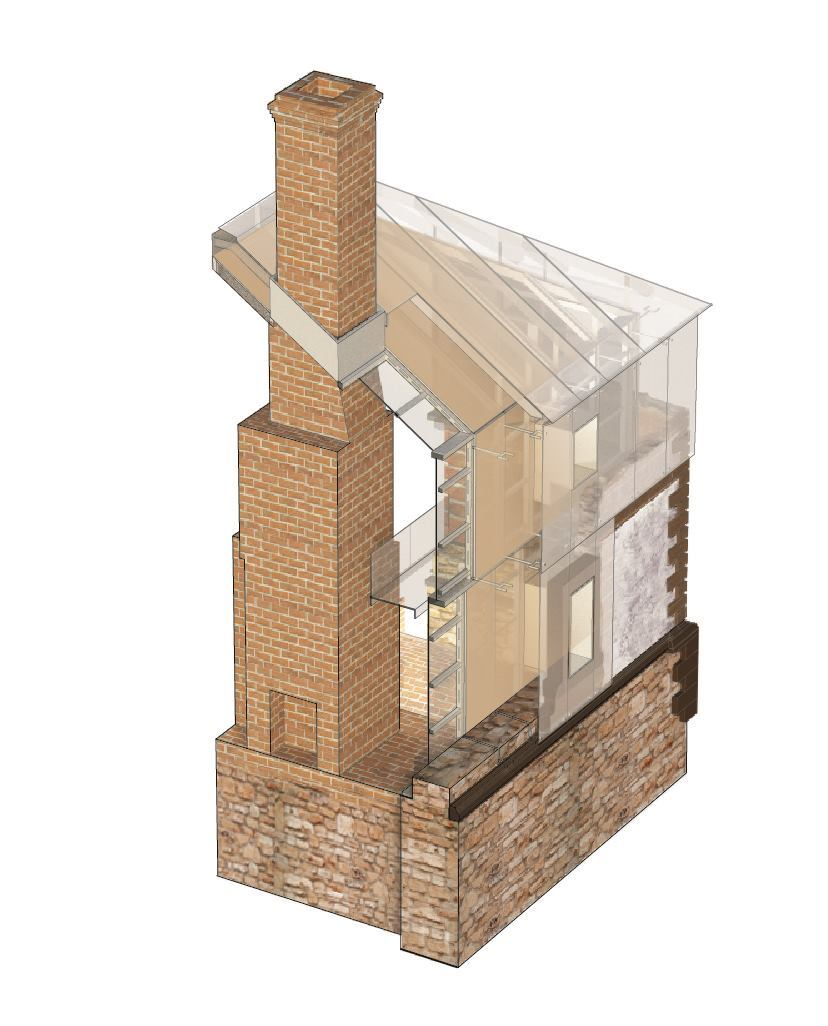Corner detail illustrates collaboration of stabilized rubble walls, steel armature, glass enclosure and interior liner.