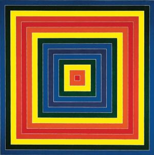 The experience of painting apartments inspired Frank Stella to use house paint for his 1962 work Gran Cairo.
