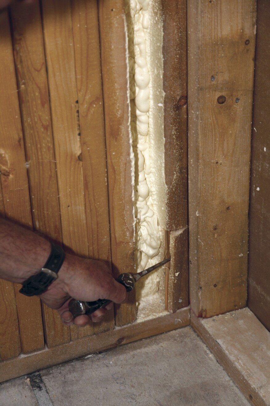 Break out the wood below the cut with a chisel or screwdriver.