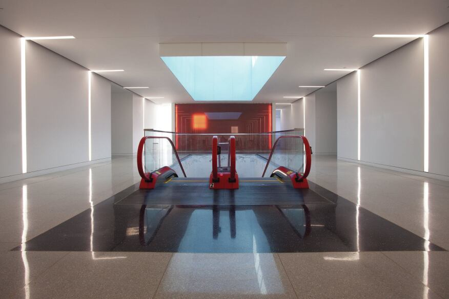 The Schindler Elevator Corporation Headquarters features a Swiss flag color palette of red and white.