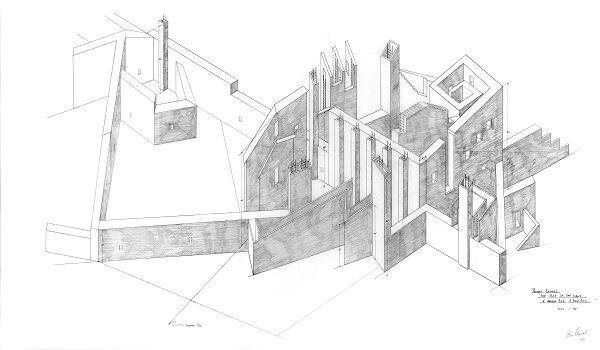 """""""Study for Project Entitled 'The City of the Walls: A Narrow City: A Thin City' """" (1978)"""