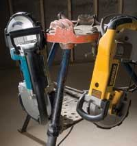 Handy hang hooks on the front of the Makita and the rear of the DeWalt keep the tools within reach.
