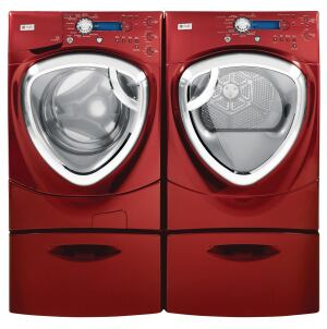 GE. Profile series SmartDispense full-size washers and dryers achieve an MEF rating of 2.23 and a WF of 4.0 (24% and 87.5% better than 2009 thresholds, respectively) and feature steam technology. The 4.2-cubic-foot-capacity, stainless steel–tub washer automatically senses the load and adjusts the water level to as little as 10 gallons per load; a spin cycle up to 1,300 rpm reduces the energy load on the dryer. The units communicate to match load settings. 800.626.2005.  www.geappliances.com.