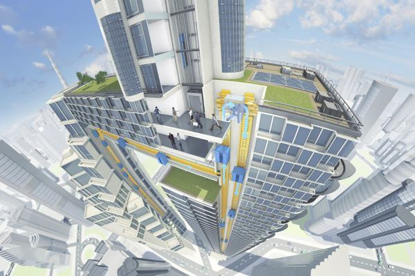 A conceptual rendering of ThyssenKrupp's new Multi elevator system in application.
