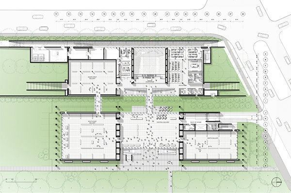 Floor Plan of the new Renzo Piano Pavilion at the Kimbell Art Museum