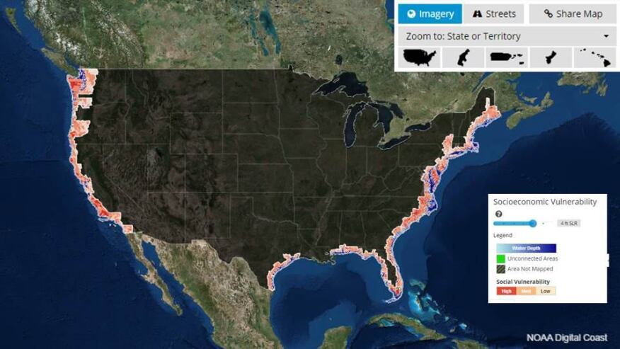 Image from NOAA sea level mapping tool looking at socioeconomic vulnerability based on 4 foot rise.
