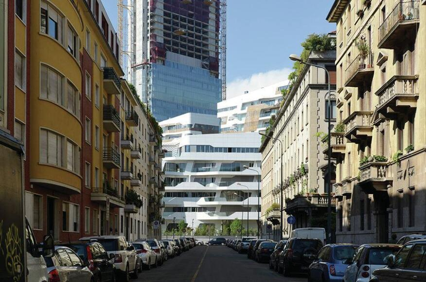 The Hadid-designed residences as viewed from the neighborhood context of Milan.