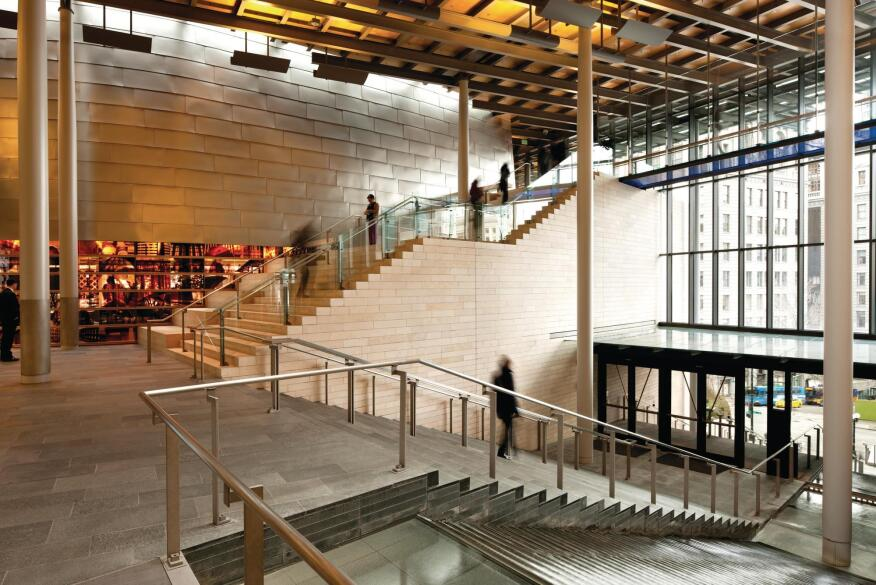 The light-filled entrance of City Hall, which has a notable absence of ID or bag checks.