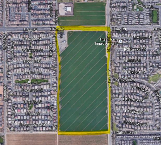 The 75.3-acre site is southeast of Phoenix in Gilbert, Ariz.