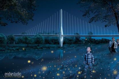 Iconic Scioto River Pedestrian Bridge