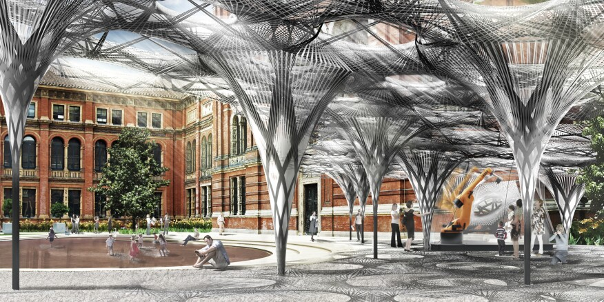 A rendering of the Elytra Filament Pavilion at the Victoria and Albert Museum John Madejski Garden, in London.